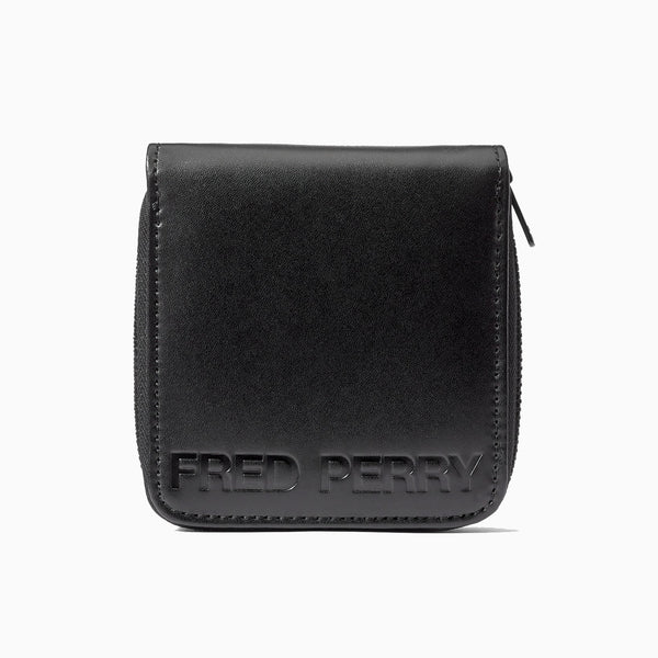 Fred Perry Embossed PU Zip Around Wallet - Black
