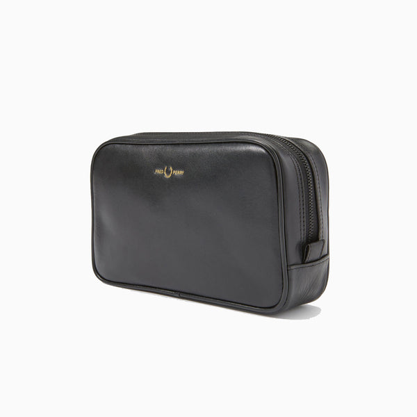 Fred Perry Leather Travel Case - Black