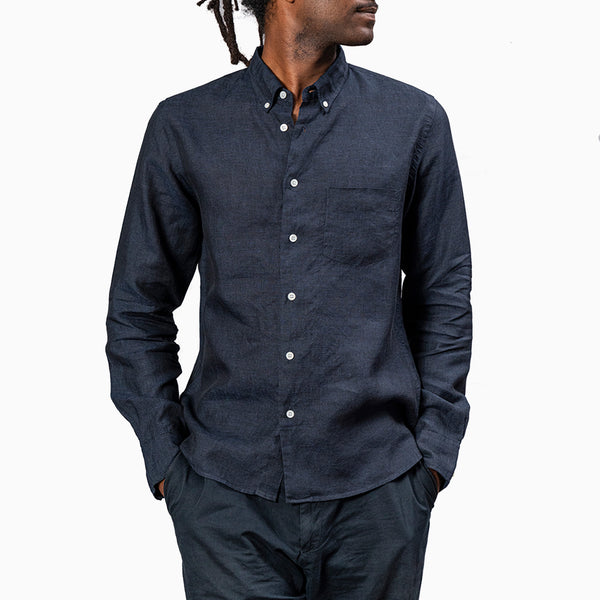 La Paz BRANCO 100% Linen Shirt - Dark Navy