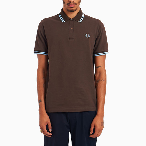 Fred Perry Twin Tipped Shirt - Chocolate/ Ice/ Ice