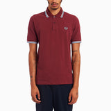 Fred Perry Made In England Twin Tipped Shirt - Maroon/White/Ice