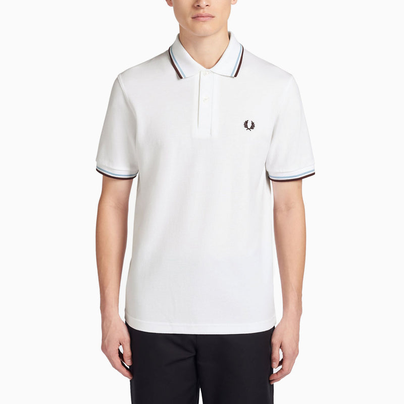Fred Perry M12 Twin Tipped Shirt - White/ Maroon/ Ice