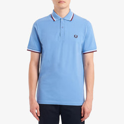 Fred Perry Twin Tipped M12 Fred Perry Shirt - MidBlue/White/Maroon