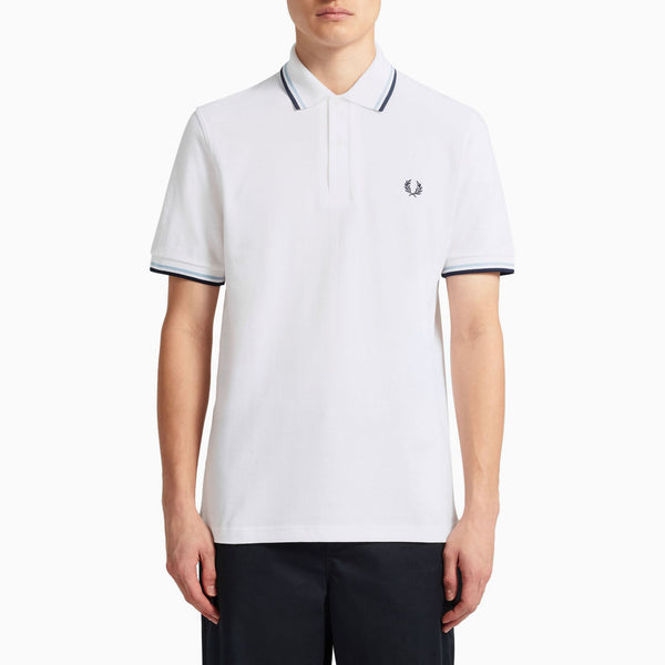 Fred Perry M12 Twin Tipped Shirt - White/Ice/Navy