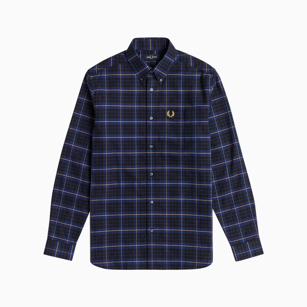 Fred Perry Tonal Check Shirt - French Navy