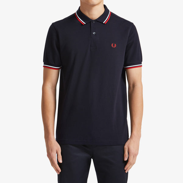 Fred Perry Twin Tipped Polo Shirt - Navy/White/Red
