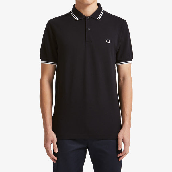 Fred Perry Twin Tipped Polo Shirt - Black/Porcelain