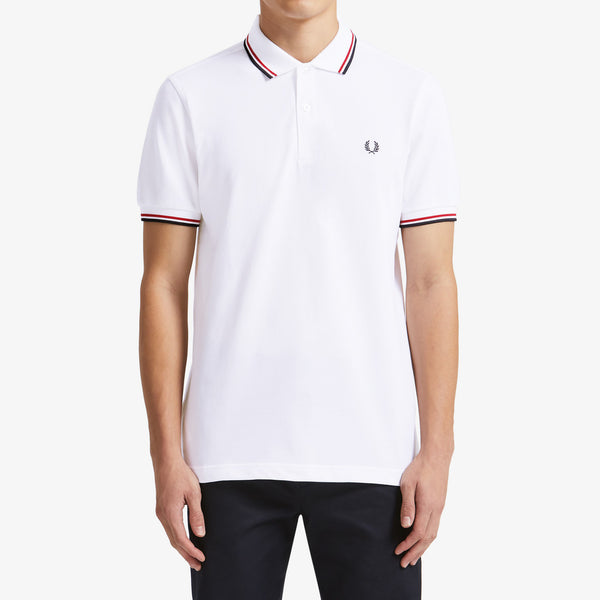 Fred Perry Twin Tipped Polo Shirt - White/Red/Navy