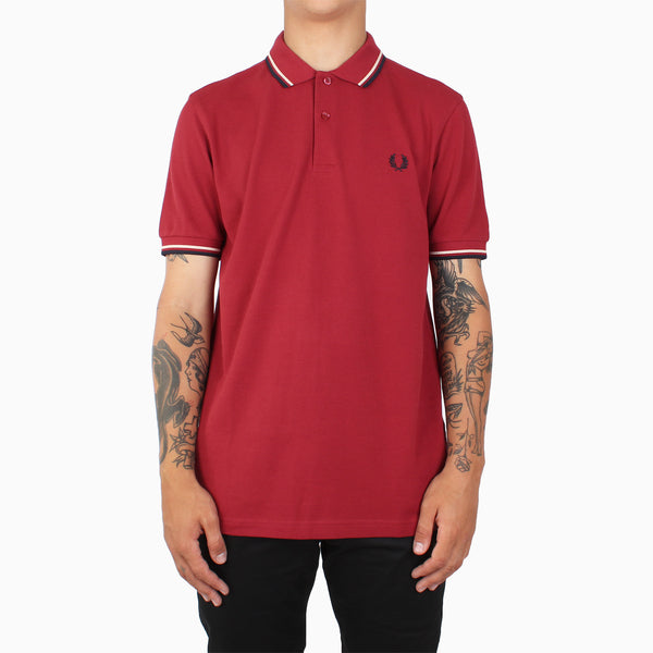 Fred Perry Twin Tipped Polo Shirt - Rich Red/Natural/Navy