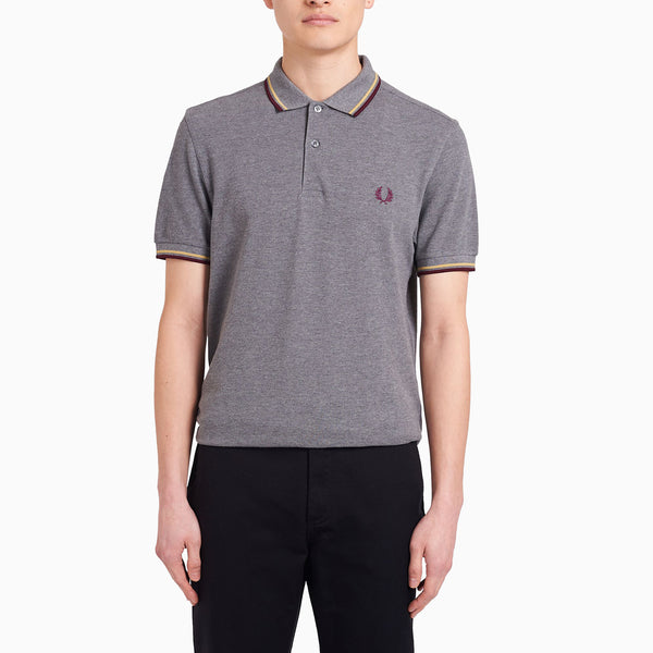 Fred Perry Twin Tipped Fred Perry Shirt - Grey Marl/ Champagne/ Mahogany