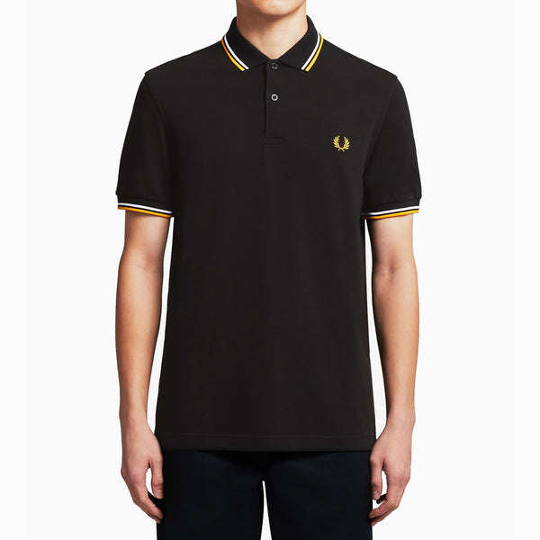 Fred Perry Twin Tipped Polo Shirt - Black/White/Gold