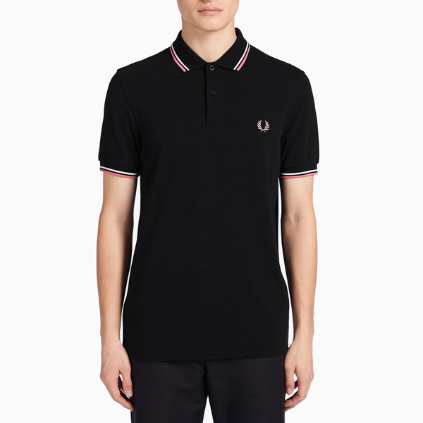 Fred Perry Twin Tipped Fred Perry Shirt - Black/ White/ Pink Fizz