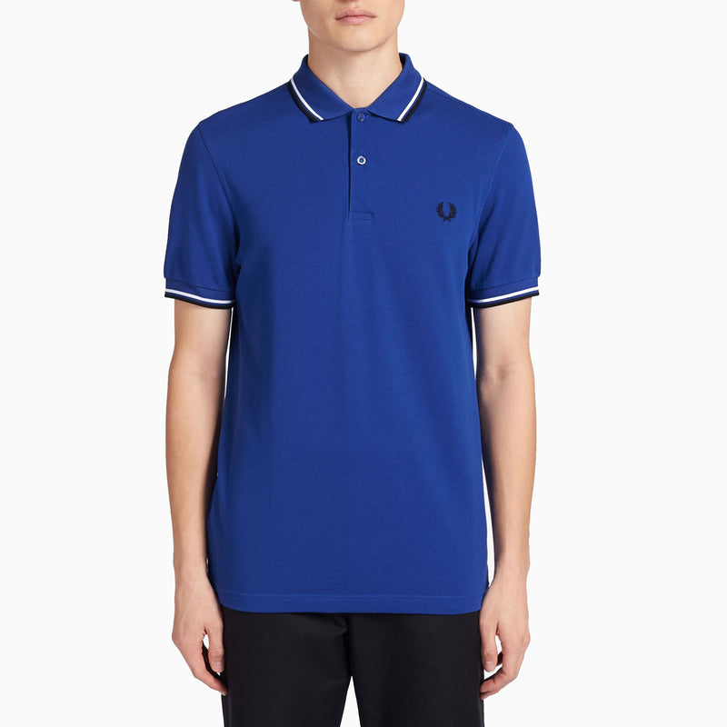 Fred Perry Twin Tipped Fred Perry Shirt - Cobalt/ Snow White/ Black