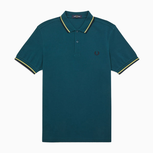 Fred Perry Twin Tipped Fred Perry Shirt - Petrol Dreams/ Daffodil/ Navy