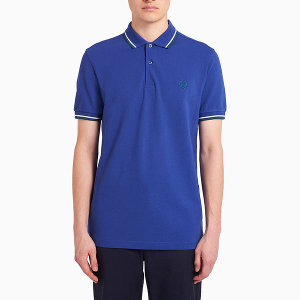 Fred Perry Twin Tipped Fred Perry Shirt - Nautical Blue/ Snow White/ Light Petrol