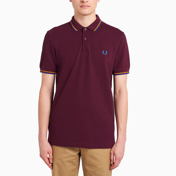 Fred Perry Twin Tipped Fred Perry Shirt- Mahogany/ Amber/ Nautical Blue