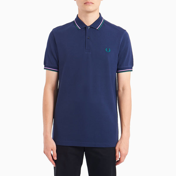 Fred Perry Twin Tipped Shirt - Dark Carbon/Lilac/Bottle Green