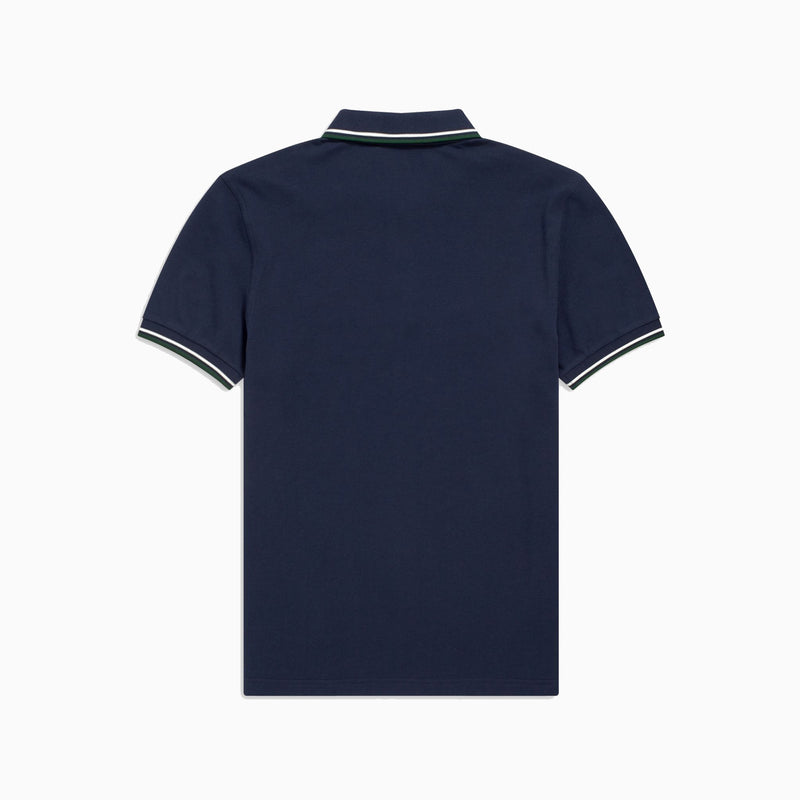 Fred Perry Twin Tipped Shirt - Carbon Blue/Snow White/Tartan Green
