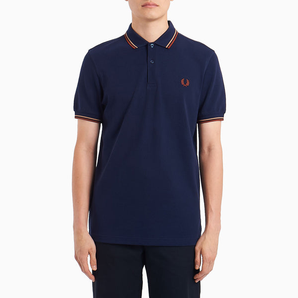 Fred Perry Twin Tipped Shirt - Carbon Blue/Warm Stone/Paprika