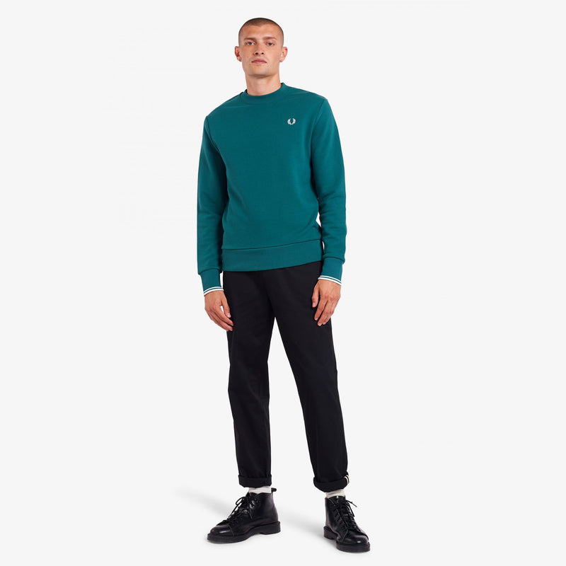 Fred Perry Crew Neck Sweatshirt- Light Petrol