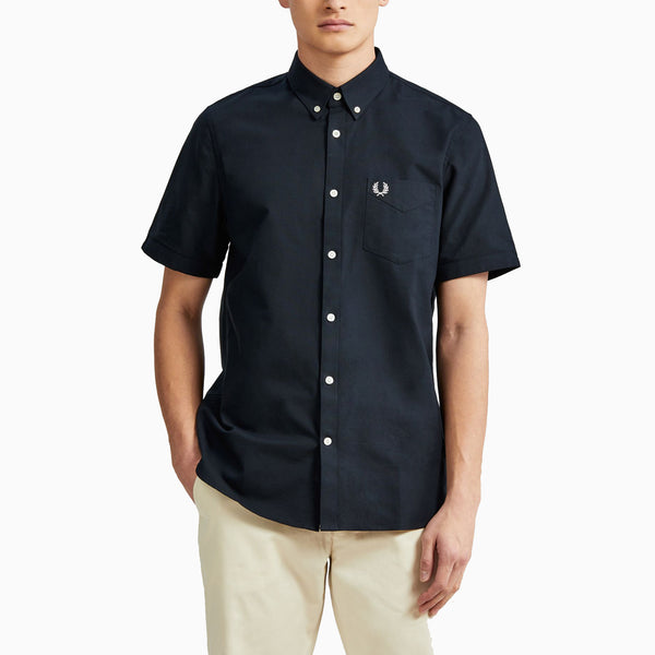 Fred Perry Short Sleeve Oxford Shirt - Navy