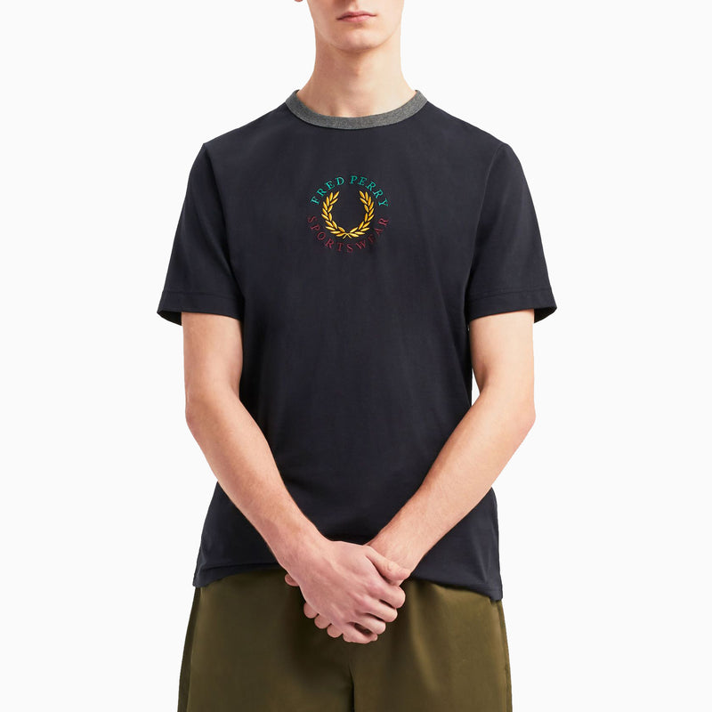 Fred Perry Branded T-Shirt - Navy