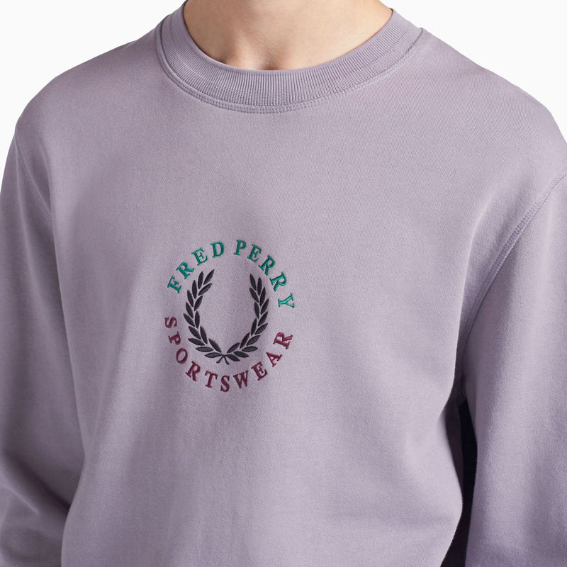 Fred Perry Global Branded Sweatshirt - Lavendar Ash