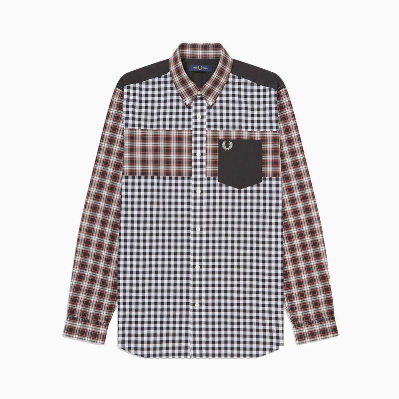 Fred Perry Contrast Check Panel Shirt - Port