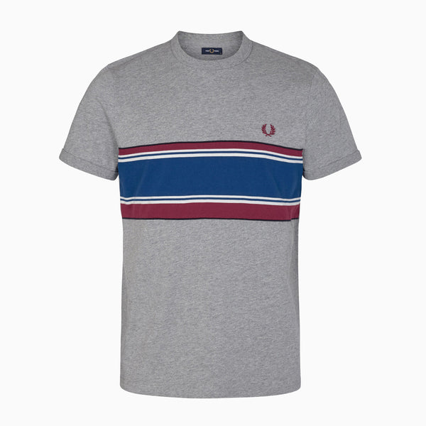 Fred Perry Striped Chest T-Shirt - Steel Marl