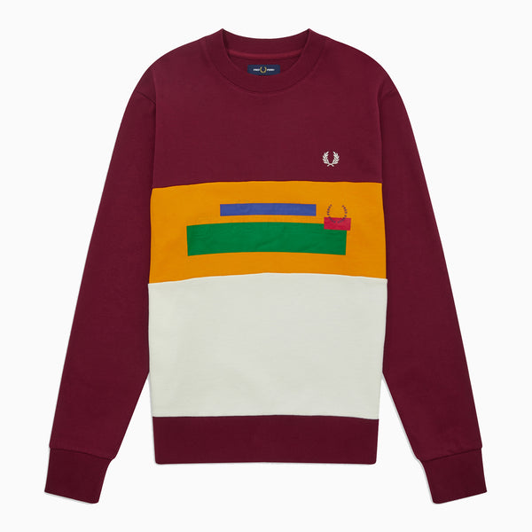 Fred Perry Mixed Graphic Sweatshirt - Tawny Port