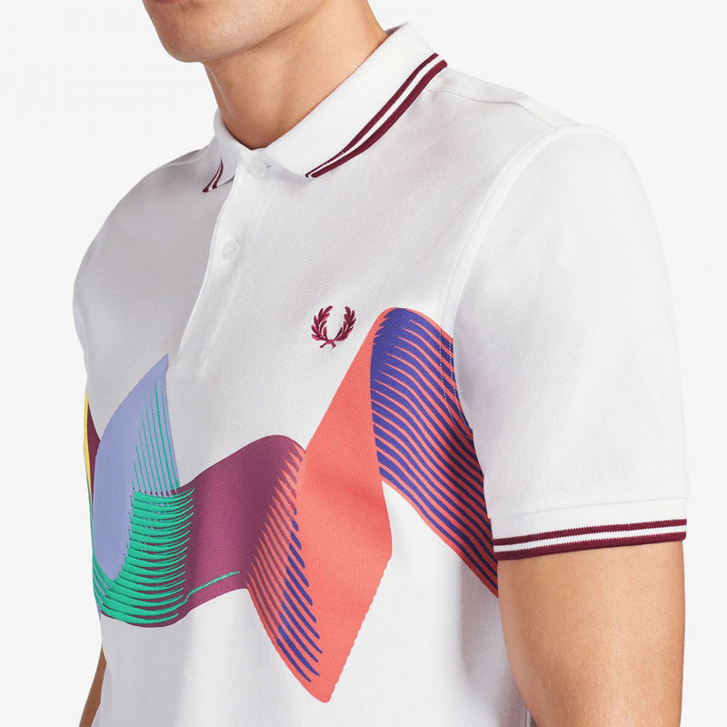 Fred Perry Abstract Sport Polo Shirt - White