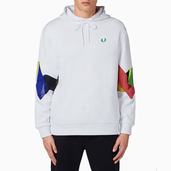Fred Perry Abstract Sport Hooded Sweatshirt - White
