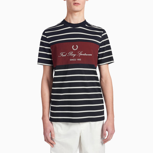 Fred Perry Embroidered Stripe T-Shirt - Navy