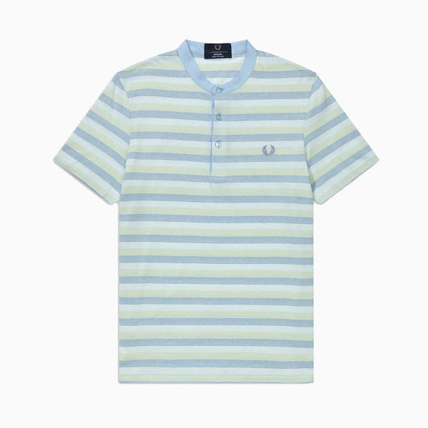 Fred Perry Collarless Striped Pique Shirt - Powder Blue