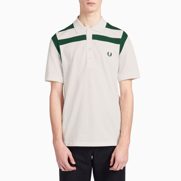 Fred Perry Chest Panel Polo Shirt - Snow White