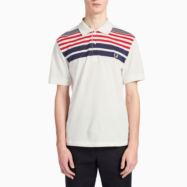 Fred Perry Reissue Striped Pique Shirt - Snow White