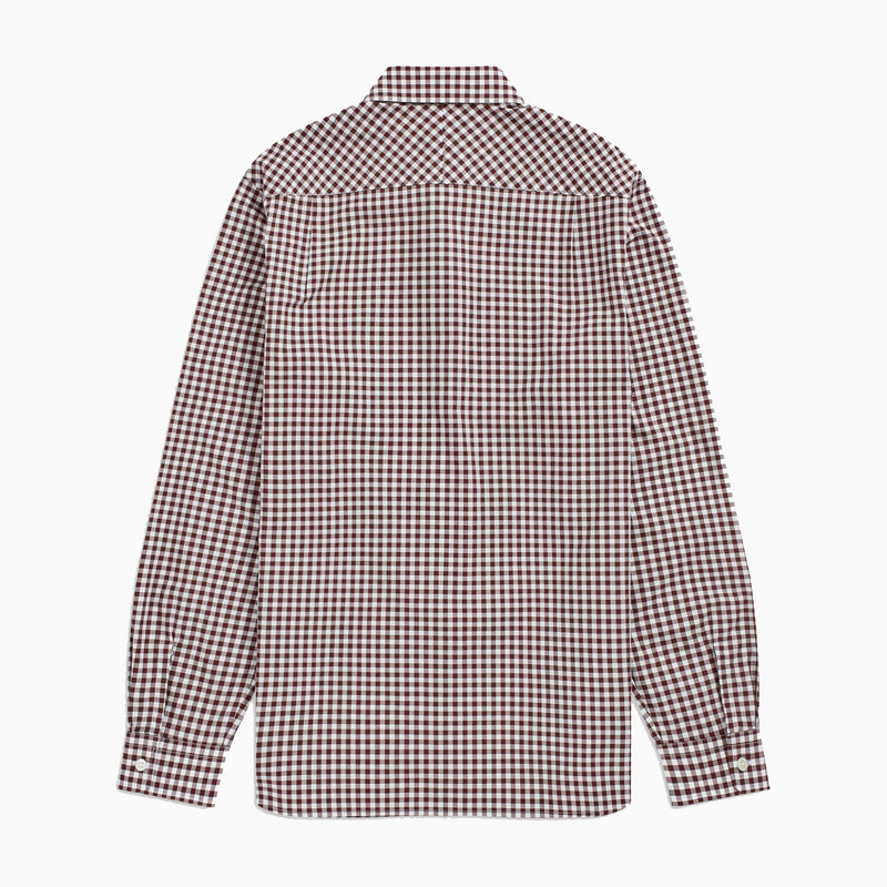 Fred Perry Gingham Long Sleeve Shirt- Mahogany