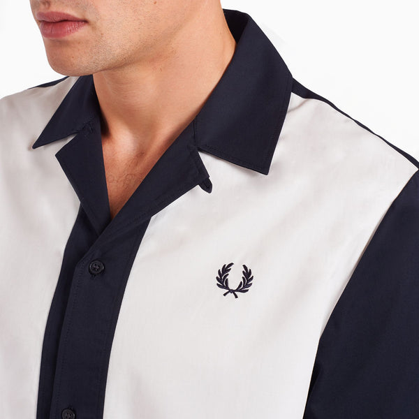 Fred Perry Panelled Bowling Shirt - Navy