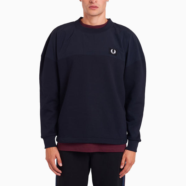 Fred Perry Woven Panel Sweatshirt - Navy