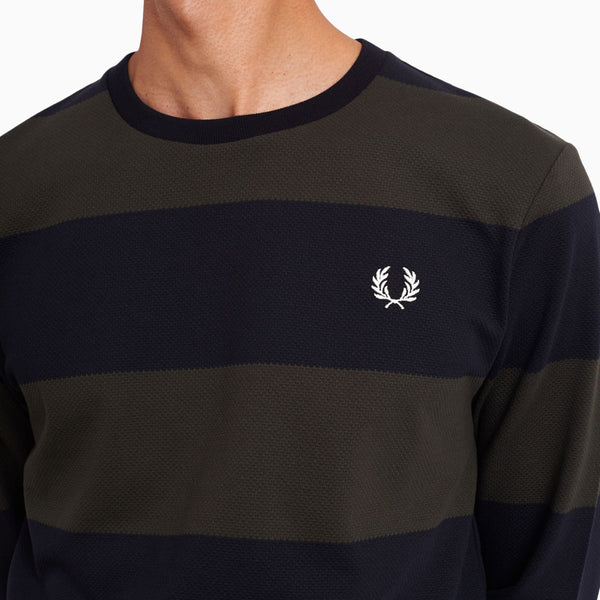 Fred Perry Bold Stripe Pique T-Shirt - Black