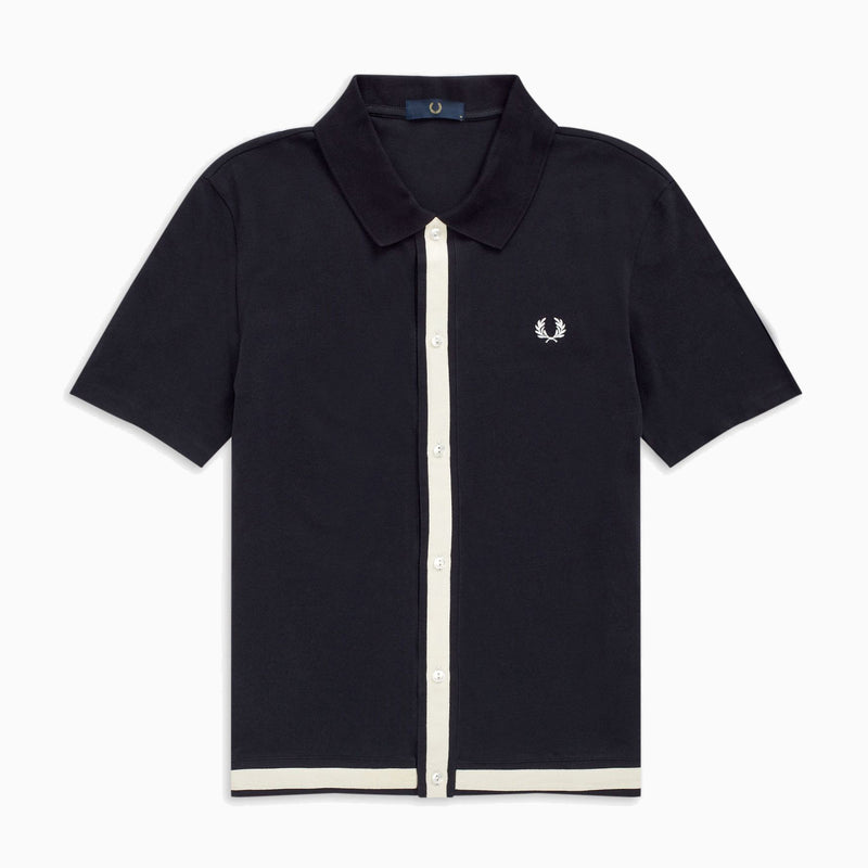 Fred Perry Pique Button Through Shirt- Navy