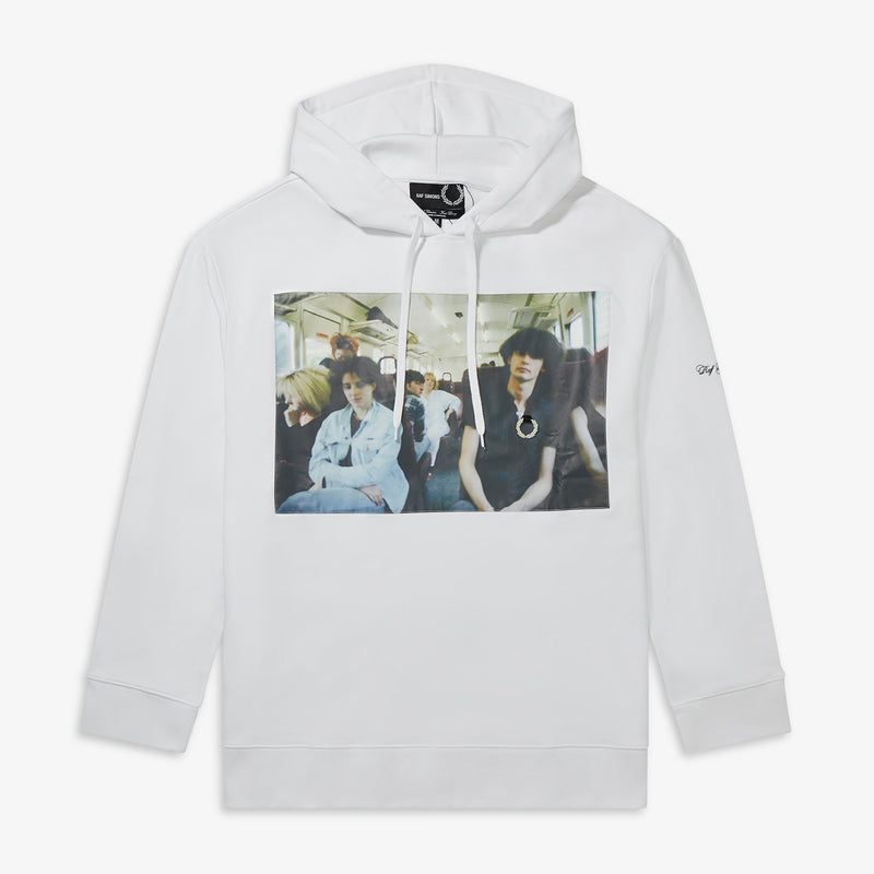 Fred Perry x Raf Simons Chest Print Hooded Sweatshirt - White