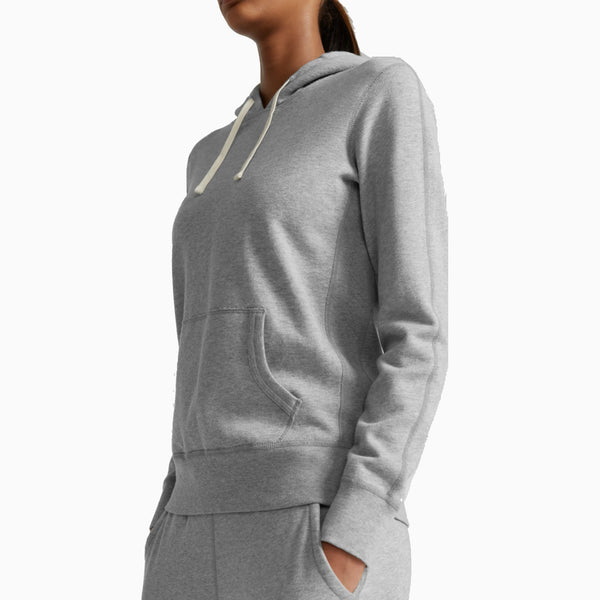 Reigning Champ -Women's Knit Pima Terry Pullover Hoodie - Heather Grey