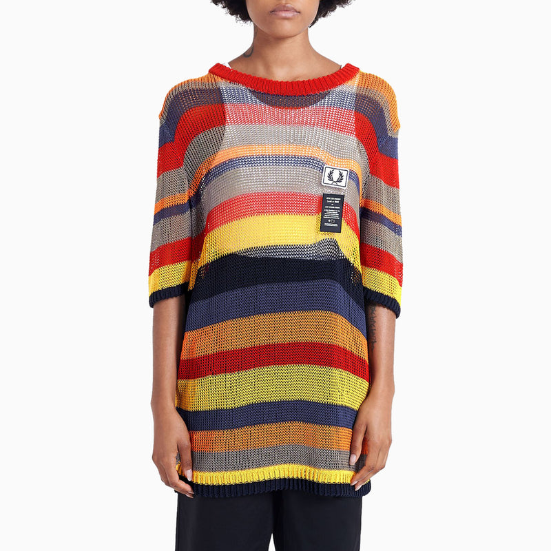 Fred Perry x Art Comes First Striped Open Knit T-Shirt - Super Lemon