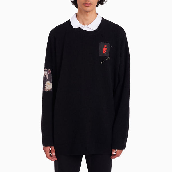 Fred Perry x Raf Simons Oversized Printed Patch Jumper - Black