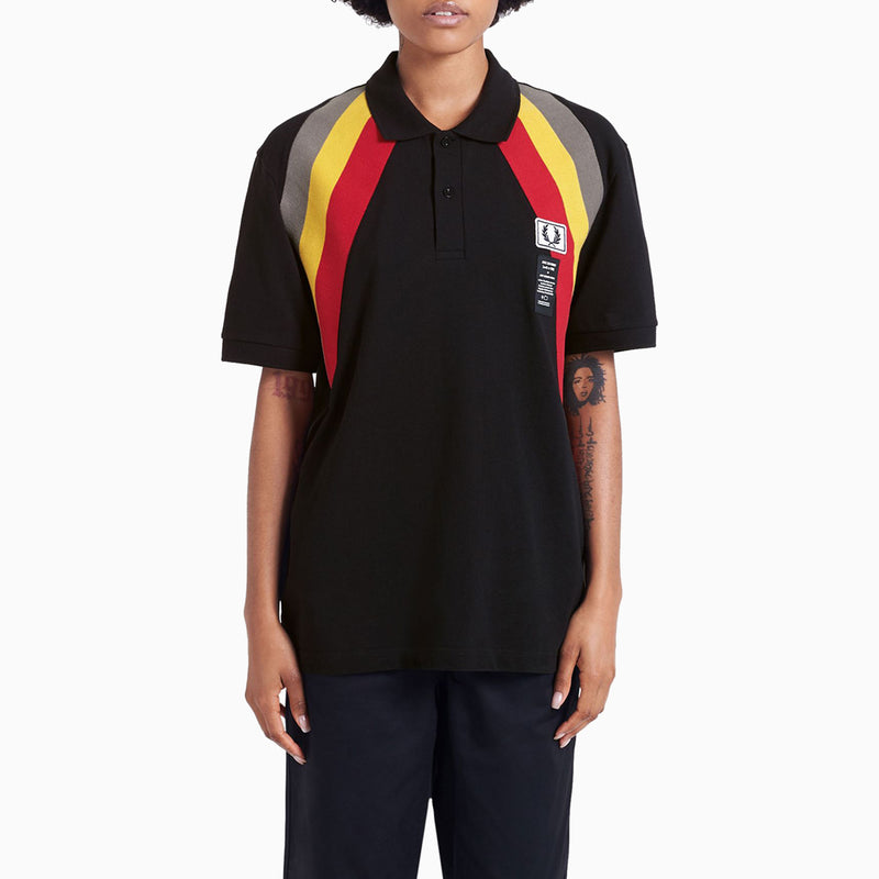 Fred Perry x Art Comes First Diagonal Rib Pique Shirt - Black