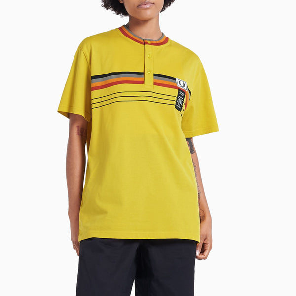 Fred Perry x Art Comes First Striped Henley Shirt - Super Lemon