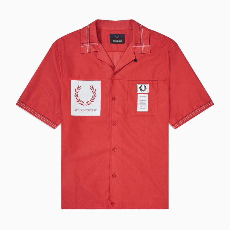 Fred Perry x Art Comes First Stitch Detail Rever Shirt - Fred's Red