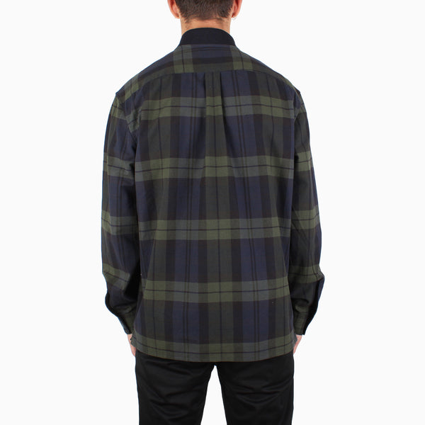 Fred Perry Tartan Zip-Through Shirt - Navy