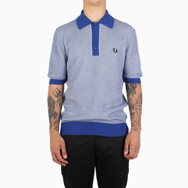 Fred Perry Two Colour Texture Knit Shirt - Cobalt